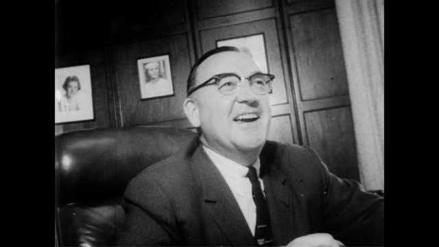 / senator william knowland announces candidacy in sacramento / incumbent governor goodwin knight / film camera rolling / governor knight smiling and... - 1957 stock-videos und b-roll-filmmaterial