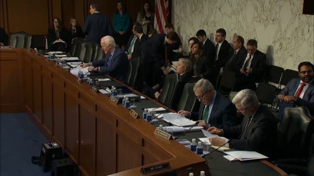 senators from texas south carolina illinois and rhode island prepare notes during recess a hearing of the senate judiciary committee with from... - michael horowitz stock videos & royalty-free footage