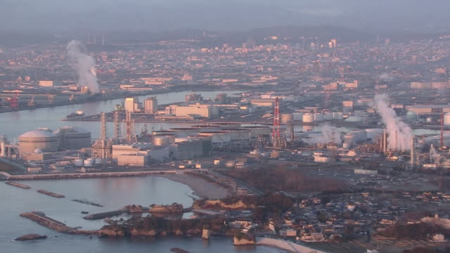 aerial, sendai bay dyed in morning glow miyagi, japan - cityscape点の映像素材/bロール
