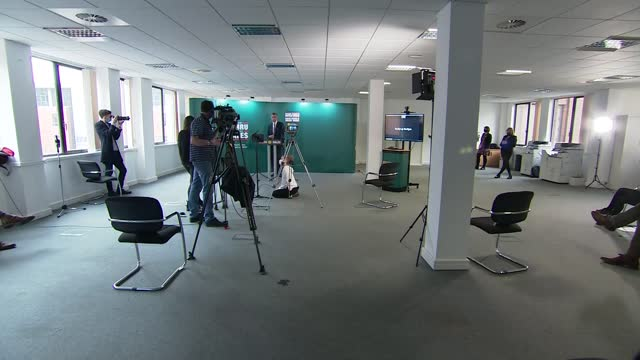 plaid cymru manifesto launch; *part 2 of 4* wales: cardiff: int camera operators and autocue / adam price speech sot - device screen stock videos & royalty-free footage