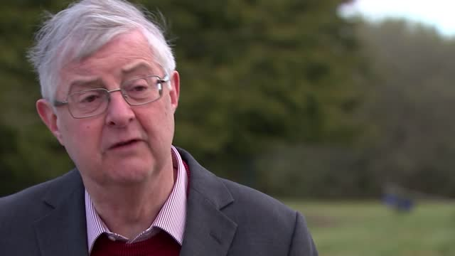 welsh party leaders ahead of next week's national election; wales: ext mark drakeford interview sot - we are in a much better position in relation to... - typisch walisisch stock-videos und b-roll-filmmaterial