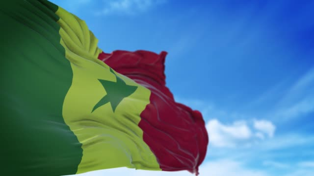 senegal flag is waving slowly against blue sky in 4k resolution - senegal stock videos & royalty-free footage