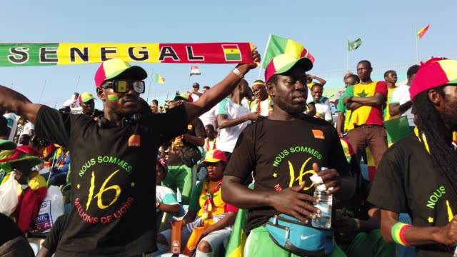 senegal football fans singing and dancing to a drum beat during the 2019 african cup of nations quarter-final match between senegal and benin at the... - senegal stock videos & royalty-free footage