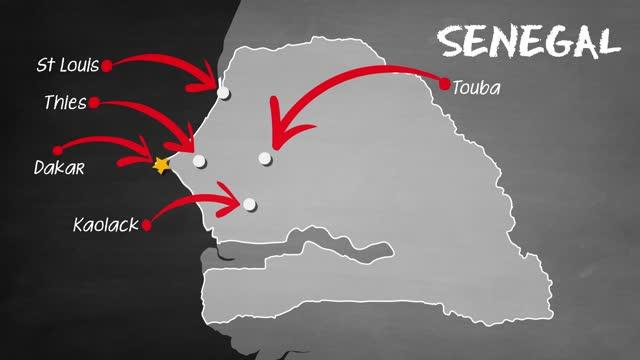 セネガルの地図 - セネガル点の映像素材/bロール