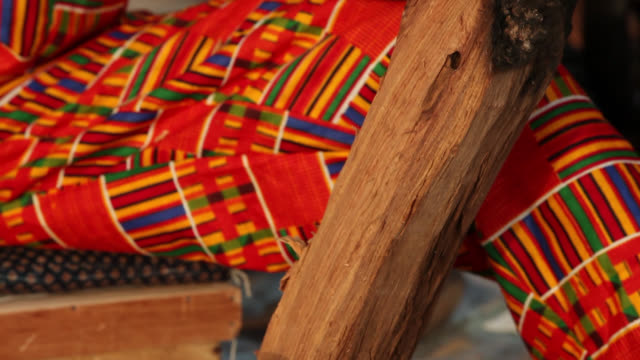 senegalese craftsman carves wooden ormnament - senegal stock videos & royalty-free footage