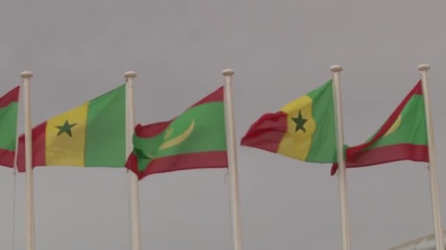 senegalese president macky sall meets with his mauritanian counterpart mohamed ould abdel aziz in nouakchott, mauritania on february 09, 2018. - モーリタニア点の映像素材/bロール