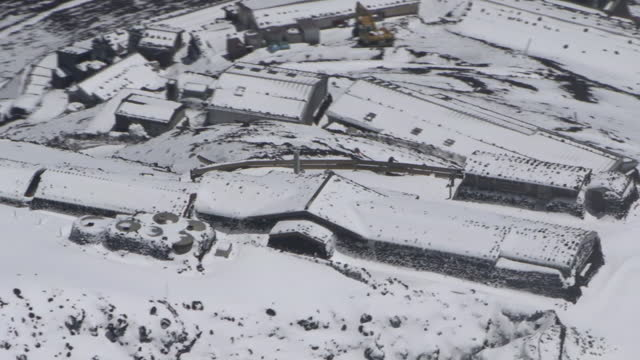 aerial, cu, sengen taisha at mt fuji summit, yamanashi, japan - shrine stock videos & royalty-free footage