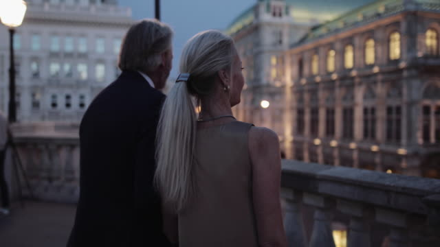 senior adult couple enjoying view on romantic evening out - 豪華点の映像素材/bロール