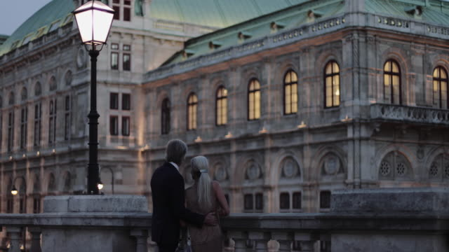 senior adult couple enjoying view on romantic evening out - vienna austria stock videos & royalty-free footage