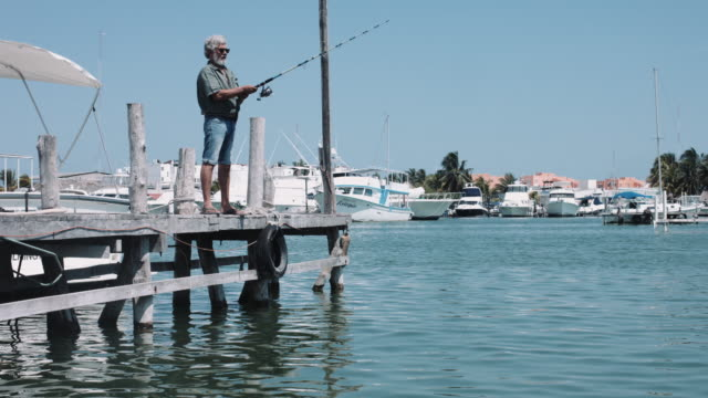 senior adult male fishing on pier - one senior man only stock videos and b-roll footage