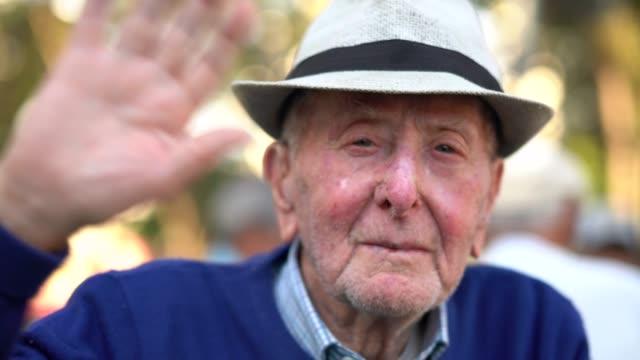 senior adult male gesturing hand; he is 91 years old - waving hands stock videos & royalty-free footage