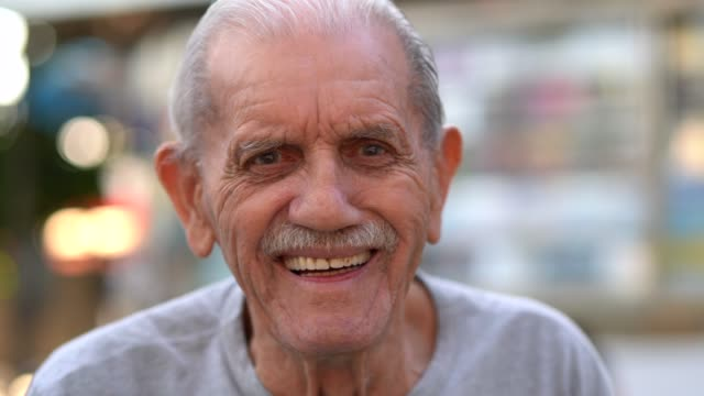 senior adult male laughing portrait; he is 89 years old - human head stock videos & royalty-free footage