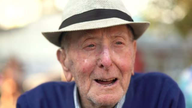 senior adult male portrait; he is 91 years old - blue eyes stock videos and b-roll footage