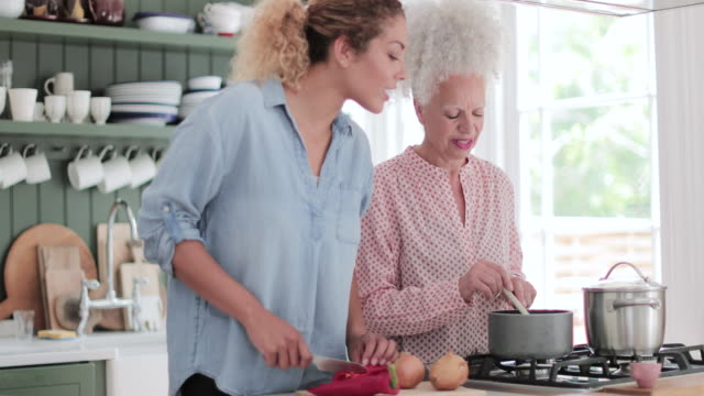 senior adult woman cooking a meal with daughter - baby boomer stock videos & royalty-free footage