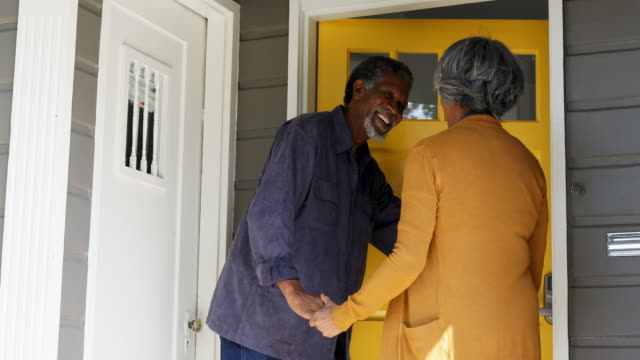 senior african american family at the house front door - front stoop stock videos and b-roll footage
