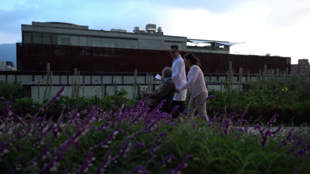 vídeos de stock e filmes b-roll de senior amputee patient on wheelchair with spouse and doctor taking a stroll on the rooftop garden of hospital - comunidade de aposentados