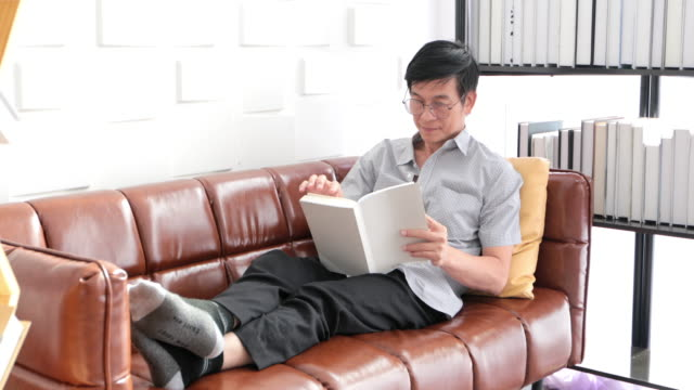 senior asian man reading book on sofa in living room at home ,asian elderly man is relaxing and happiness with read a magazine - magazine publication stock videos & royalty-free footage