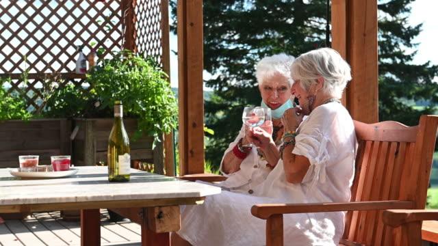 senior best women friends portrait road trip patio - gazebo stock videos & royalty-free footage