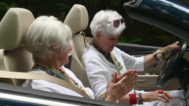 senior best women friends portrait road trip - zen like stock videos & royalty-free footage
