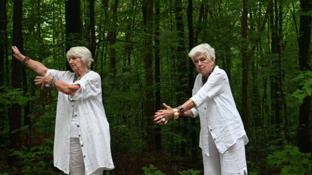 senior best women friends portrait road yoga - active lifestyle stock videos & royalty-free footage