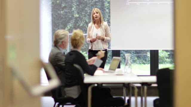 stockvideo's en b-roll-footage met senior business executive training staff - directievergadering