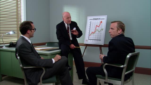 ms senior businessman sitting on desk and talking to two men during sales presentation/ new york city - hel kostym bildbanksvideor och videomaterial från bakom kulisserna