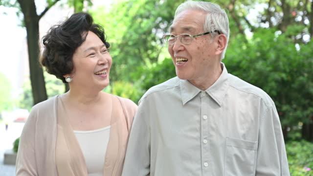 vídeos de stock e filmes b-roll de senior chinese couple walking together in park - cabelo natural