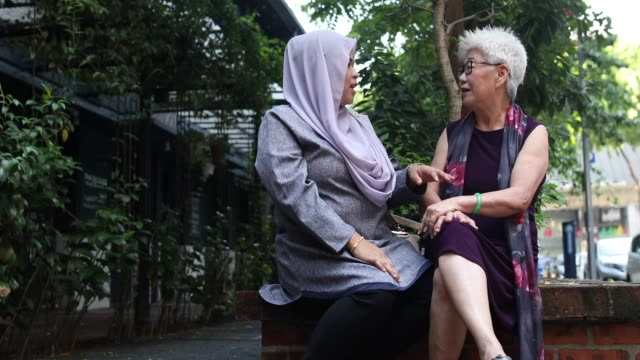 senior chinese woman and adult malaysian woman talking in the park - malay family stock videos and b-roll footage