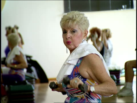 senior citizens in jazzercise class in miami, florida - active seniors stock videos & royalty-free footage