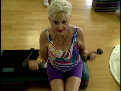 senior citizens in jazzercise class in miami florida - aerobics stock videos & royalty-free footage