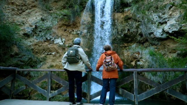 Senior couple admiring beautiful waterfall