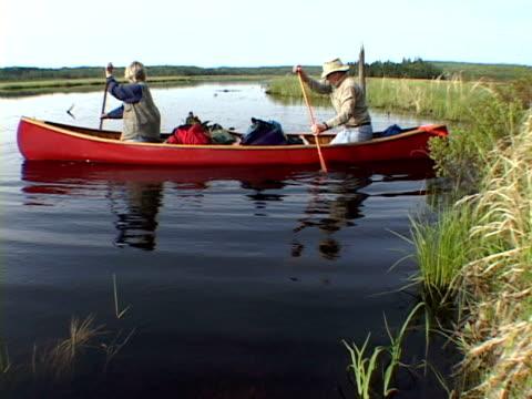 WS, Senior couple canoeing in river, Algonquin Provincial Park, Ontario, Canada