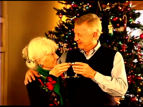 senior couple celebrating christmas with champagne - see other clips from this shoot 1407 stock videos and b-roll footage