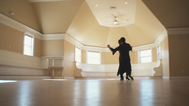 ws, senior couple dancing in empty room, hingham, massachusetts, usa - tango dance stock videos and b-roll footage