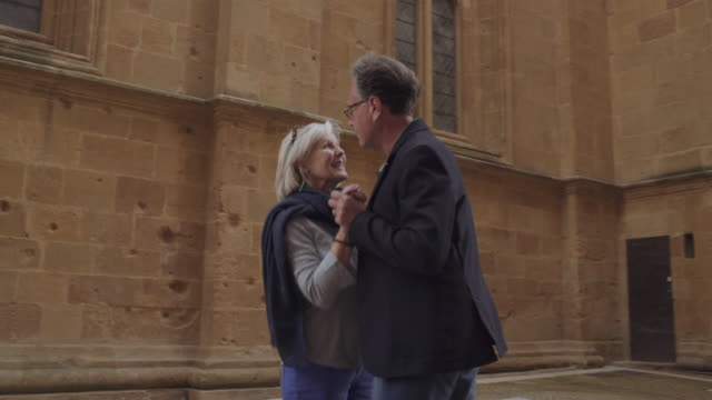 senior couple dancing outdoors - old town stock videos & royalty-free footage