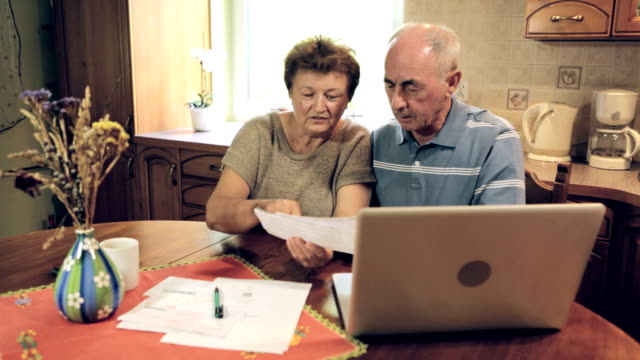 Senior couple doing home finance