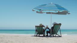 Senior couple enjoying free time at the beach