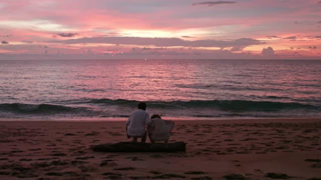 senior couple enjoying in sunset on beach,4k - dorso umano video stock e b–roll