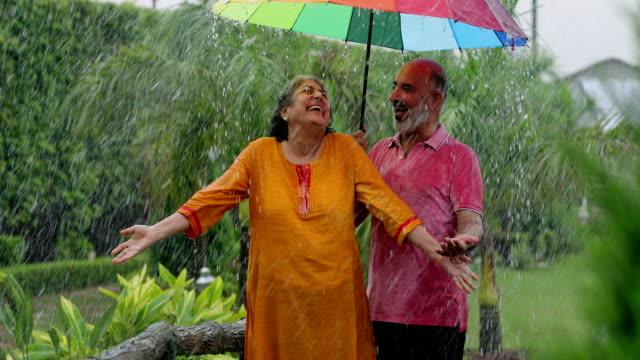 senior couple enjoying in the rain season, delhi, india - t shirt stock-videos und b-roll-filmmaterial