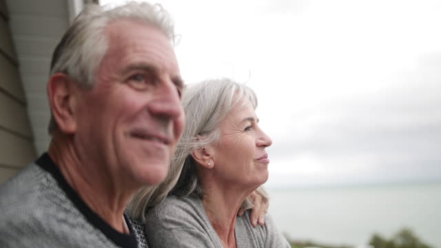 Senior couple enjoying sea view