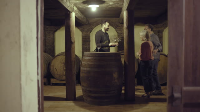 senior couple entering a wine cellar - wine cask stock videos and b-roll footage