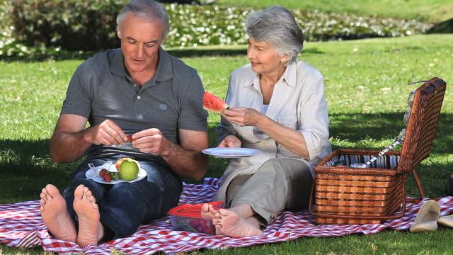 vídeos y material grabado en eventos de stock de ws senior couple feasting at picnic in park / cape town, western cape, south africa - cesta de picnic