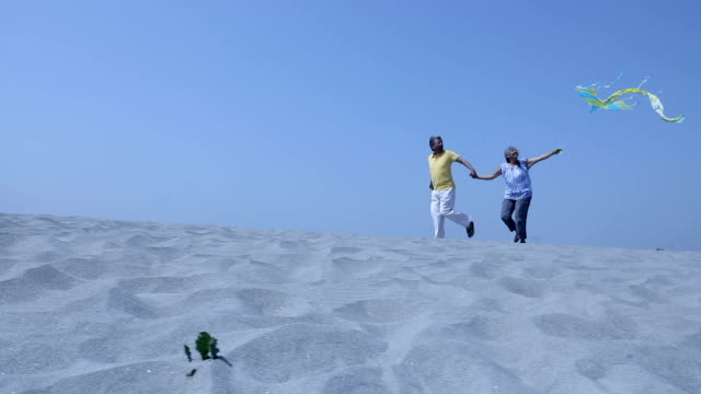senior couple flying kite on the sand, haryana, india - kite toy stock videos and b-roll footage