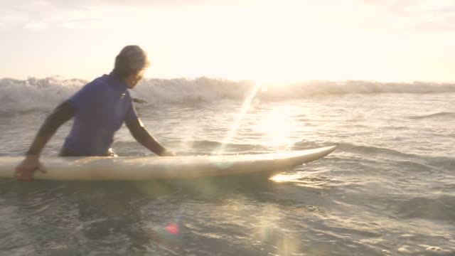 vídeos de stock e filmes b-roll de senior couple going surfing together at sunset - perigo