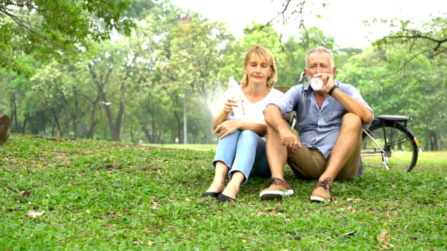 senior couple in love enjoying togetherness at park ,retired couple walking in the park together - 50 59 years stock videos & royalty-free footage