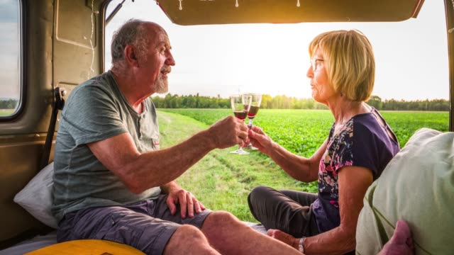 senior couple on a road trip in their camper van - romantic road germany stock videos and b-roll footage