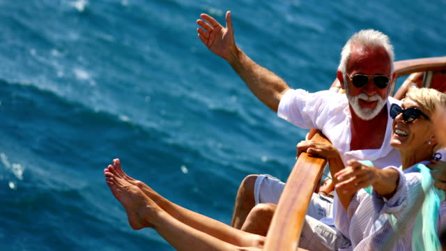 senior couple on a sailing cruise. - sailing boat stock videos and b-roll footage