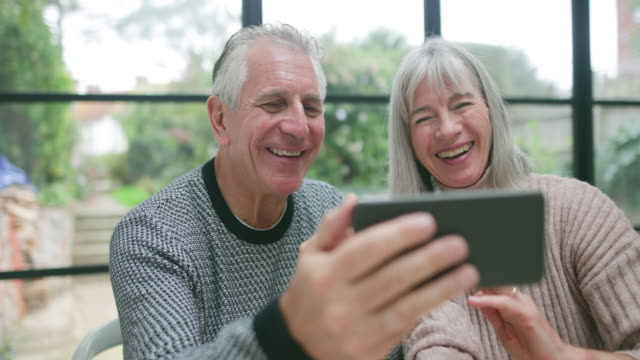 Senior couple on a videocall