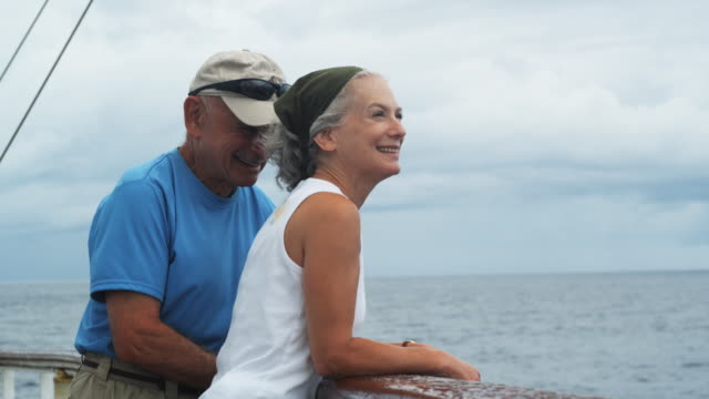 senior couple on a yacht