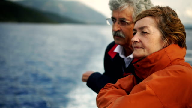 senior couple on ferry - cruise stock videos & royalty-free footage